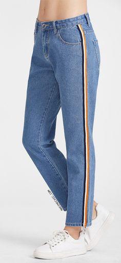 Side Striped Tape Straight Jeans Remodelando Roupas 7e10ffb9c7a19