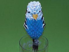 3D origami budgie (budgerigar, bird) tutorial
