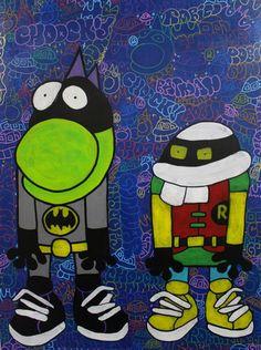 Gunnar and Choocky as Batman and Robin : Acrylic on canvas | davidgouny