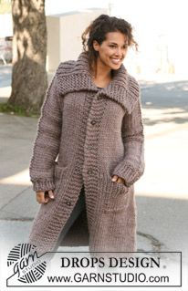 Basic patterns - Free knitting patterns and crochet patterns by DROPS Design Crochet Coat, Knitted Coat, Mohair Sweater, Crochet Clothes, Cardigan Pattern, Jacket Pattern, Knitting Patterns Free, Free Knitting, Free Pattern