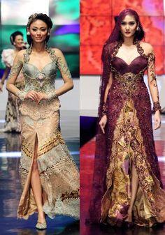 Pastel green and sumptous burgundy Kebaya Lace, Kebaya Brokat, Kebaya Dress, Batik Kebaya, Batik Dress, Lace Dress, Indonesia Fashion Week, Modern Kebaya, Indonesian Kebaya