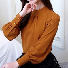 New Autumn 2018 Womens Tops and Blouses Long Sleeve Chiffon Blouse Mujer Fashion Women Shirts Ladies Tops Shirt Camisa Feminina New Autumn 2018 Womens Tops and Blouses Long Sleeve Chiffon Blouse Muj – geekbuyig Casual Skirt Outfits, Mode Outfits, Fashion Outfits, Blouse Styles, Blouse Designs, Trend Fashion, Fashion Women, Chiffon Shirt, Chiffon Tops