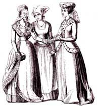 14th Century Fashion. Exemplifies the more body conscious clothing with tighter sleeves and narrow waists. The women look like they have more purpose/ importance, and give off a more luxurious  look.