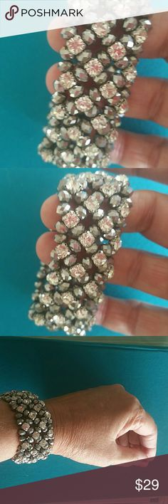 GORGEOUS CRYSTALS STATEMENT STRETCHY BRACELET CRYSTALS AND BLING AND IRIDESCENT STRETCHY BRACELET PURCHASED IN BOUTIQUE IN NAPLES,  FLORIDA !!!   NEW WITHOUT TAGS! ! ! Jewelry Bracelets