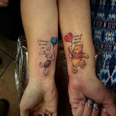 Daughter piglet mom Pooh tattoo. Except tigger and eeyore