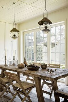 love this kitchen table-add a bench to make it even more farmhouse charming   love those lights, where to find them though!