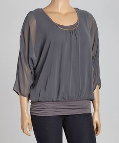 Look what I found on #zulily! Charcoal Embellished Blouson Top - Plus #zulilyfinds