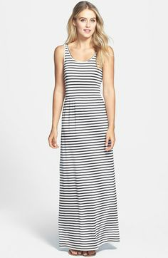 Two by Vince Camuto 'Rising Stripe' Back Cutout Sleeveless Maxi Dress