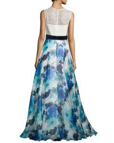 Sleeveless Combo Dress w/ Floral Skirt, Ivory/Ocean