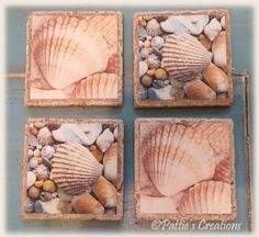 These are Sea Shell themed coasters that I made. I used canvas cloth and mounted them on tumbled stone tiles. I added thin cork sheets on the backs of the tiles so they don't scratch my furniture. I really like the way they came out and they were so simple to make.