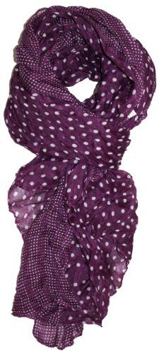 LibbySue-Border Print Polka-Dot Crinkle Scarf in a Choice of Colors, Plum Purple LibbySue Plum Purple, Purple Rain, Shades Of Purple, Purple Scarves, Border Print, All Things Purple, Glamour, Crinkles, Violet