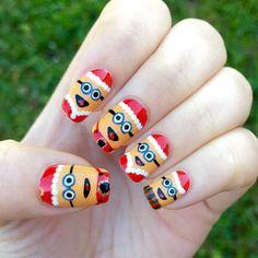Santa minion nails nails nail nail art christmas nail designs santa christmas nails