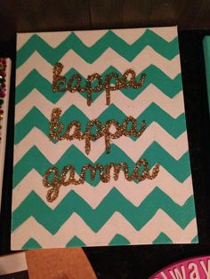 Love the letters in glitter on top of chevron!