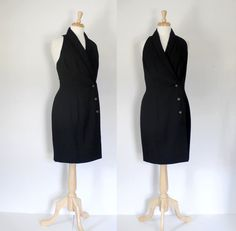 Vintage little black dress from the late early This versatile vest style dress can be worn alone or with a tee and features a low cut Lovely Dresses, Vintage Dresses, 90s Fashion, Fashion Dresses, Casual Sporty Outfits, 80s Outfit, Tuxedo Dress, 80s Dress, Wiggle Dress