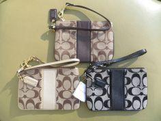 COACH Wristlet Wallet Black Gold Small Purse New Bag NWT SIGNATURE 49174 Khaki #Coach #Wristlet