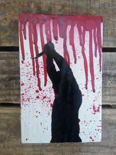 Reclaimed pallet wood sign - creepy Halloween silhouette
