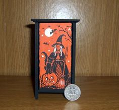 Dollhouse Miniature Halloween Cupboard Vintage Hand Painted Witch Bat Cat