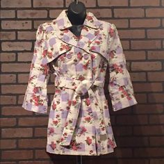 Women Floral Print Jacket Belted 3/4 Sleeve Spring Jacket Is Unique. Floral Print Gives It A Nice Girlish Touch. Wear With Your Favorite Jeans And A Great Pump! Material Is Made Of 100% Cotton Jackets & Coats Blazers