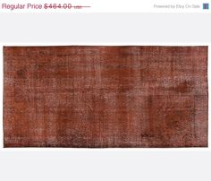 ON SALE 4,1 x 8,4 FT___125 x 256Cm      Vintage Brown handmade faded-distressed overdyed rug Free shipping (5016)