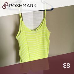 Stripped tank top Lime green/yellow color. Flowy, no flaws! Tops Tank Tops