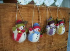 Mini Snowman Wool Wrapped/Needle Felted by WhimsicalWoolies