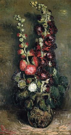 Vincent van Gogh - Vase with Hollyhocks, 1886 (Kunsthaus Zurich Switzerland) Van Gogh: Up Close at Philadelphia Museum of Art Vincent Van Gogh, Monet, Flores Van Gogh, Pintura Wallpaper, Van Gogh Arte, Van Gogh Pinturas, Van Gogh Paintings, Art Van, Dutch Painters