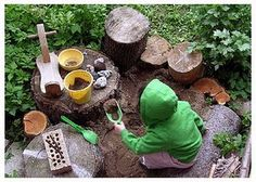Add stones, logs, stumps and mounds to create an inviting outdoor playscape