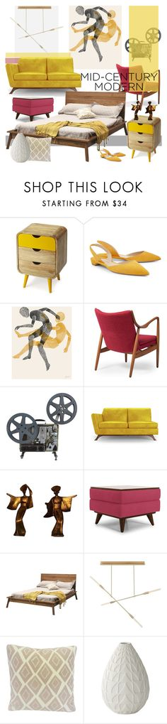 """""""Clean Spaces: Mid-Century Modern"""" by nicolevalents ❤ liked on Polyvore featuring interior, interiors, interior design, home, home decor, interior decorating, Butler Specialty Company, Paul Andrew, Baxton Studio and Joybird"""