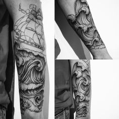 Tattoo waves boat in progress