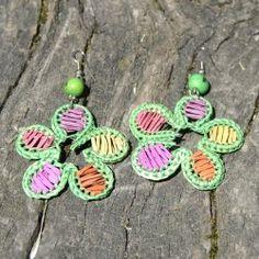 Boucles d'oreilles fleur en paille