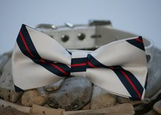 Dog Bow Tie with high quality leather collar, Ivory, Navy Blue, Red Wedding Dog Bow Tie, Wedding Dog Collar