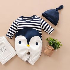 Lovely Striped Penguin Print Long-sleeve Jumpsuit and Hat Set in Dark Blue for Baby Boy(loose shape) Description * Penguin print * Snap closure * Comfy and soft * Material: Cotton * Machine wash, tumble dry * Include: 1 jumpsuit, 1 hat * Imported Baby Boy Jumpsuit, Striped Jumpsuit, Printed Jumpsuit, Baby Outfits Newborn, Baby Boy Outfits, Kids Outfits, Baby Set, Baby Penguins, Jumpsuits For Girls