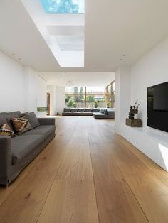 21 Popular Living Room Flooring Add to The Beauty of Your Home Farmhouse Flooring, Wood Flooring, Interior Architecture, Interior Design, Roof Window, Living Room Flooring, Modern Kitchen Design, Floor Design, Home And Living
