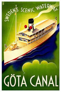 Göta Canal Vintage Travel Poster of Sweden, 1900 classic, sweden, travel, vintage #VintageTravelPosters