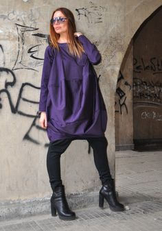 New Collection Purple Loose Tunic Long Sleeves / Extravagant Tunic / Maxi Purple Oversize Tunic / Sexy Casual Dress by EUGfashion