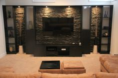 Entertainment Wall Design Ideas, Pictures, Remodel, and Decor - page 27 Tv Wall Design, House Design, Entertainment Wall, Contemporary Entertainment Center, Floating Entertainment Center, Entertainment Centers, Tv Wall Decor, Living Room Tv, Stone Wall Living Room