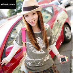 Womens cartoon Printed Round Collar Long Sleeve Beige Tshirt Primer Shirt