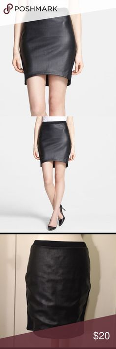 Trouve Black faux leather perforated texture skirt This is a beautiful skirt by Trouve, faux leather front with perforated texture. Waist 28 inches, front length 17 inches back length 19 inches. See pictures for details. Good condition minor wear. Be sure and check out other items in closet and bundle to receive discounts. Trouve Skirts