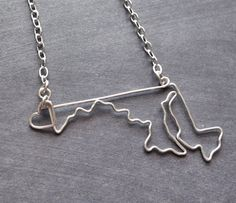 Maryland Necklace Custom State Love Necklace  Maryland by theFolk, $34.00