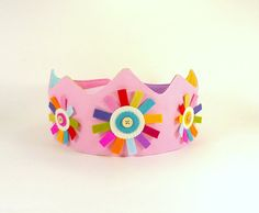 Felt Princess Crown -- Perfect for Birthdays or Dress-up -- Light Pink Organic Canvas Crown with Wool Felt Rainbow Flower