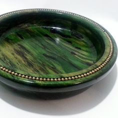 Green Spalted Wood Bowl with Beaded Trim, Green Dyed  Wood,  Lathe Turned Wood Bowl , Housewares, Kitchen, Home Decor Art