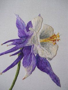 The Blue Columbine ~ created for a 3 day class in the beautiful Denver Botanic Gardens Autumn Video tutorial available through link ~ by Sarah Homfray Embroidery Designs, Ribbon Embroidery Tutorial, Silk Ribbon Embroidery, Embroidery Thread, Machine Embroidery, Embroidery Supplies, Embroidery Online, Embroidery Alphabet, Hardanger Embroidery