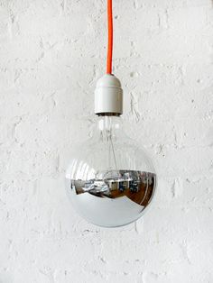 Neon Orange Net Color Cord Hanging Pendant Light w/ Giant Silver Bowl Bulb by EarthSeaWarrior by ursula