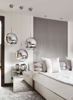 Kelly Hoppen interior design - beautiful silver and gray bedroom
