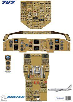Boeing 767 - 300ER cockpit diagram used for training pilots