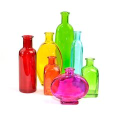 Rainbow Glass Bottles Instant Collection - Various Shapes & Sizes in Red, Orange, Yellow, Green, Aqua and Pink - Vintage Home Decor