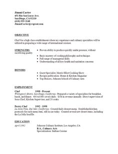 Professional Resume Cover Letter Sample Chef Resume