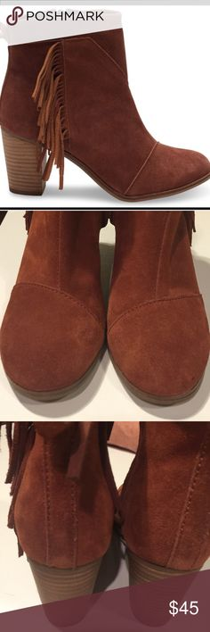 TOMS Lunata Fringe Booties Cognac Suede Size 7.5 TOMS Lunata Fringe Booties Cognac Suede Size 7.5.  Like new with one very small spot on left toe as seen in picture. TOMS Shoes Ankle Boots & Booties