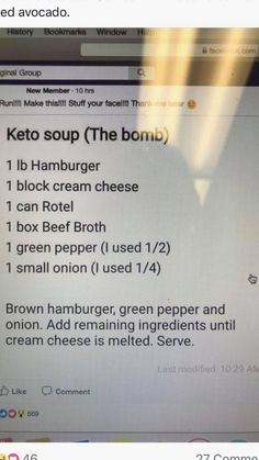 carb recipes - Creamy Burger Soup Low carb, keto, LCHF, Diabetic dinner soup beef Easy Keto Friendly Lunch Recipes keto recipes low carb recipes Keto diet KetoCookignClub com 6 Mouth Watering Low Carb Lunch Ideas keto recipes low carb recipes Keto diet Ke Keto Diet Plan, Low Carb Diet, Lunch Recipes, Diet Recipes, Recipies, Low Carb Soup Recipes, Recipes Dinner, Diabetic Recipes, Recipes For Diabetics Easy