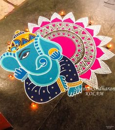 Check out latest ganesh rangoli designs and patterns which you can use to decorate your home this ganesh chaturthi. Indian Rangoli Designs, Rangoli Designs Latest, Simple Rangoli Designs Images, Rangoli Designs Flower, Rangoli Patterns, Rangoli Ideas, Rangoli Designs With Dots, Flower Rangoli, Beautiful Rangoli Designs